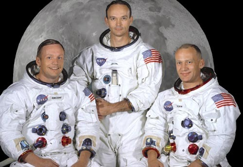 "The Apollo 11 crew from left to right: Command Module pilot Michael Collins, Mission Commander Neil Armstrong, and Lunar Module pilot Edwin ""Buzz"" Aldrin."