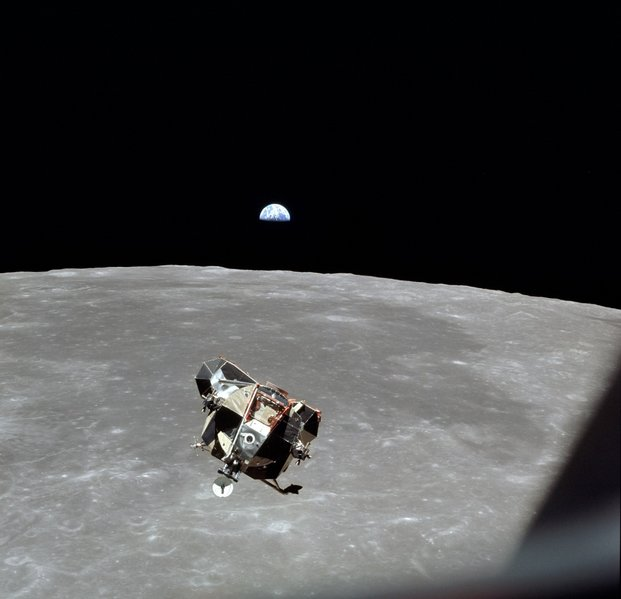 "The Apollo 11 lunar module ""Eagle"" as it returned from the surface of the moon to dock with the command module ""Columbia"". The ascent engine needed to get the astronauts off the moon had failed to ignite on 3 out of 6 tries with previous modules. It fired on this occasion, but only after Buzz Aldrin had to bypass a broken firing fuse by jamming an ink pen into it."