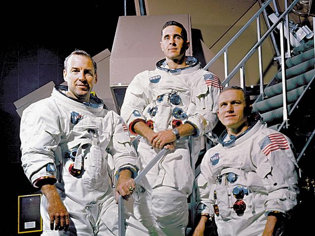 The Apollo 8 crew from left to right: Command Module pilot James A. Lovell, Lunar Module pilot William A. Anders, and Mission Commander Frank Borman. Apollo 8 was the first mission to take humans to the Moon and back. An important prelude to actually landing on the Moon was testing the flight trajectory and operations for getting there and back. Apollo 8 did this and acheived many other firsts including the first manned mission launched on the Saturn V, first manned launch from NASA's new Moonport, first pictures taken by humans of the Earth from deep space, and first live TV coverage of the lunar surface.