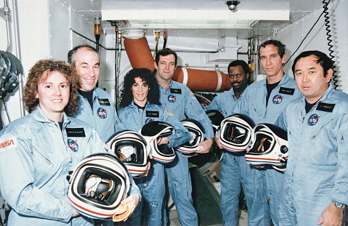 The crew of Challenger mission STS-51-L, Christa McAuliffe, Greg Jarvis, Judy Resnik, Dick Scobee, Ron McNair, Mike Smith, and El Onizuka, died tragically in the explosion of their spacecraft during the launch of STS-51-L from the Kennedy Space Center about 11:40 a.m., EST, on January 28, 1986. The explosion occurred 73 seconds into the flight as a result of a leak in one of two Solid Rocket Boosters that ignited the main liquid fuel tank.