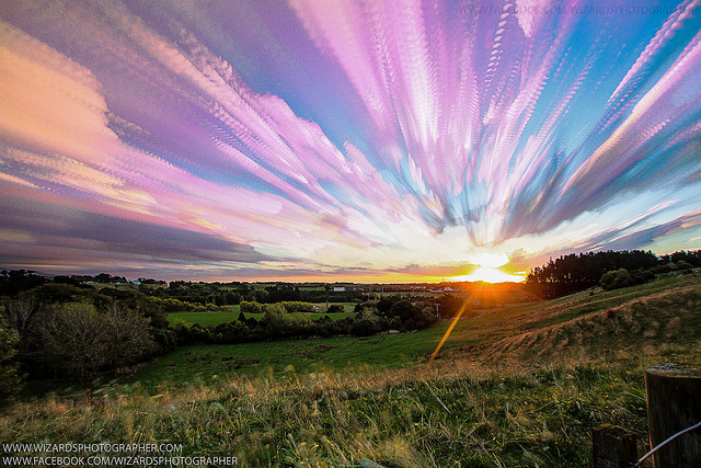 Composite of 300 images of the sky during 45 minutes at sunset over Palmerston North, New Zealand. Credit and copyright: Manoj Kesavan.