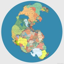 'Pangea' with Current International Borders