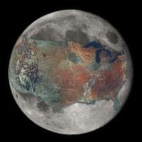 United States Overlaid on the Moon