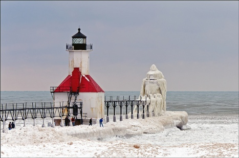 Lake Michigan's Famous Frozen Pier and Lighthouse 08