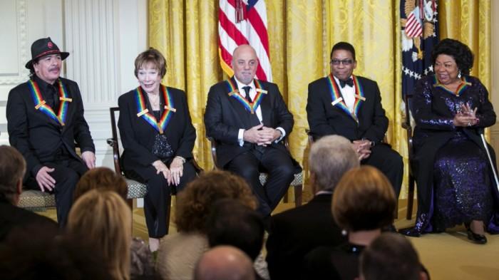 2013 Kennedy Center Honorees Carlos Santana, Shirley MacLaine, Billy Joel, Herbie Hancock and Martina Arroyo