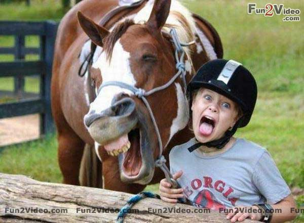 Girl and Horse Laughing