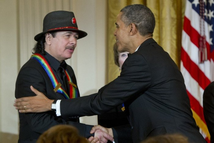 President Barack Obama Congratulates 2013 Kennedy Center Honoree Carlos Santana