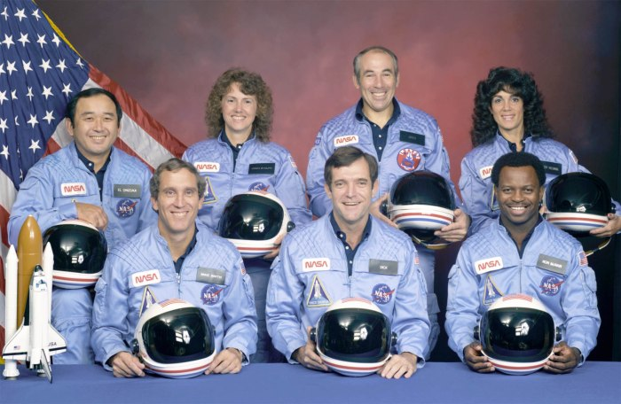 The crew of Challenger mission STS-51-L, El Onizuka, Mike Smith, Christa McAuliffe, Dick Scobee, Greg Jarvis, Judy Resnik, and Ron McNair, died tragically in the explosion of their spacecraft during the launch of STS-51-L from the Kennedy Space Center about 11:40 a.m., EST, on January 28, 1986. The explosion occurred 73 seconds into the flight as a result of a leak in one of two Solid Rocket Boosters that ignited the main liquid fuel tank.