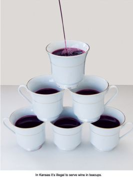 It's illegal to serve wine in teacups in Kansas.