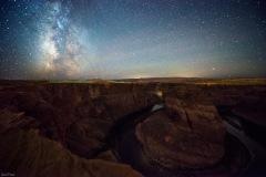 The night sky over Horseshoe Bend, near Page Arizona