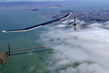 The Solar Impulse airplane flies over the Golden Gate Bridge on April 23, 2013