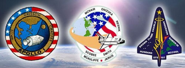 NASA pays tribute to the crews of Apollo 1 and space shuttles Challenger and Columbia